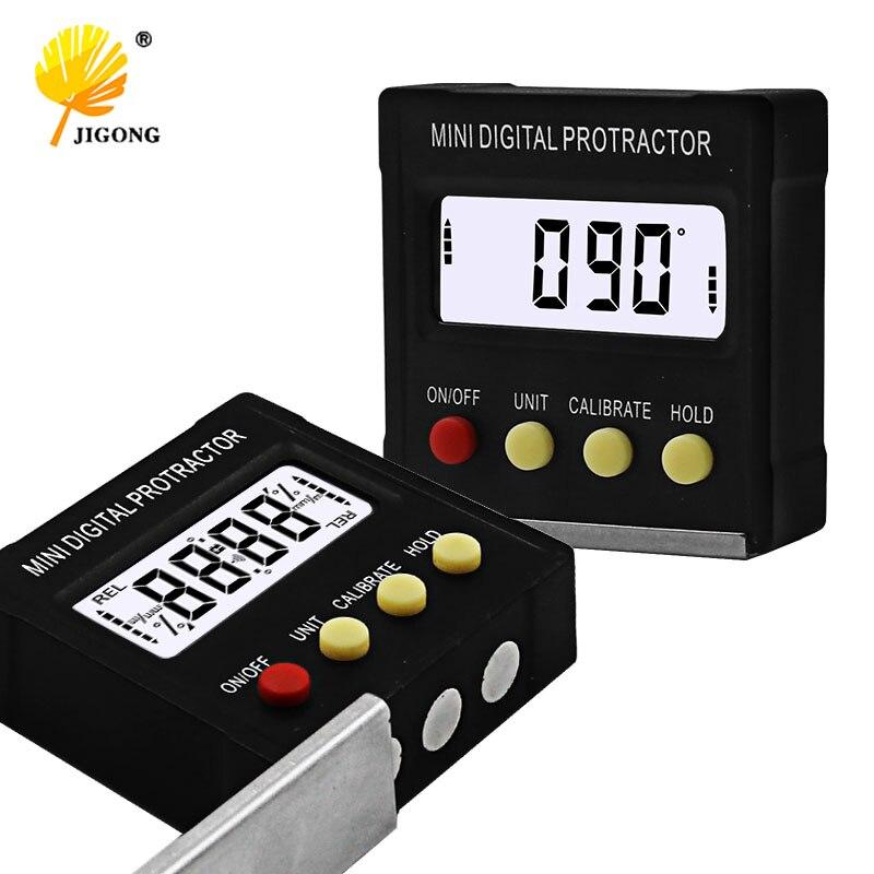 360 graus mini digital transferidor inclinômetro eletrônico nível caixa magnética base ferramentas de medição