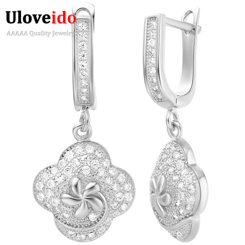 Micro Pave Set Trendy Vintage Flower Earrings Cubic Zirconia Drop Dangle Earring for Women Silver Jewelry Brincos Wedding R221