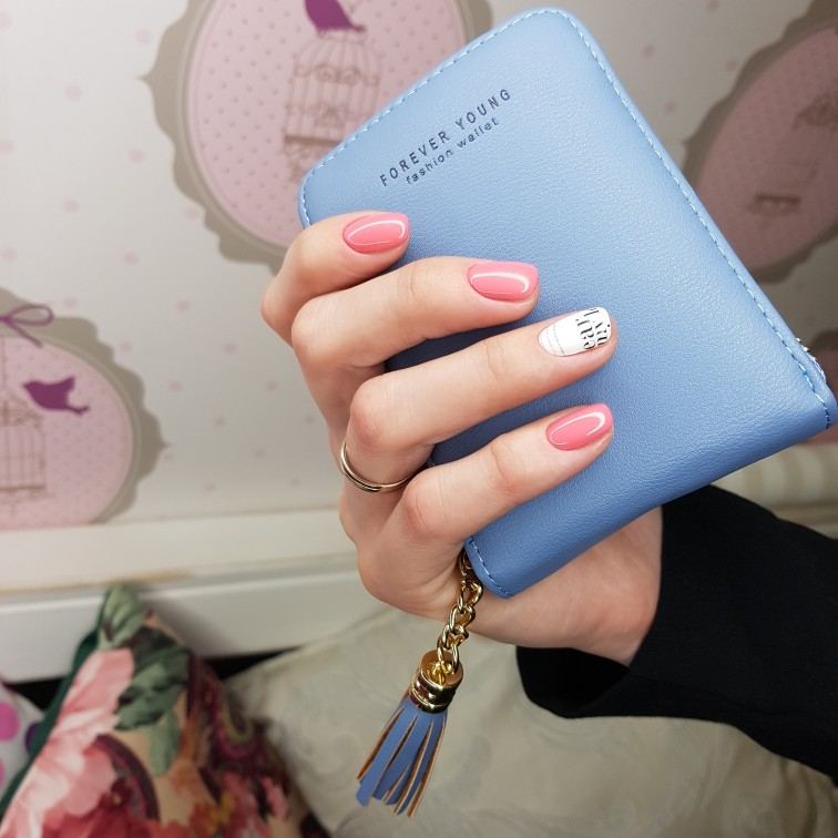 Korean Women PU Leather Card Holder Purse Tassel Pendant Short Card Holder Wallets Zipper Purse Coin Pocket Small Card Holders photo review