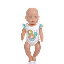 Doll Clothes Born New Baby Fit 18 inch 40-43cm digital salmon swimsuit Mermaid accessories For Gift
