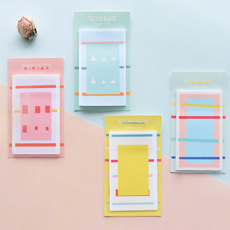 16 sets/1 lot Creative Fresh geometry Memo Pad Sticky Notes Escolar Papelaria School Supply Bookmark Post it Label