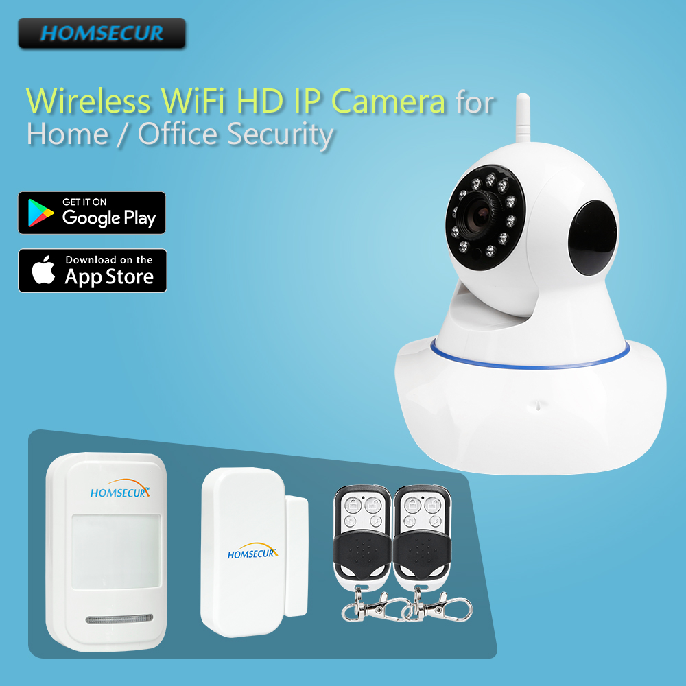 HOMSECUR APP Control HD WIFI Camera IR Night Vision+Wireless Door Sensor For House AlarmHOMSECUR APP Control HD WIFI Camera IR Night Vision+Wireless Door Sensor For House Alarm