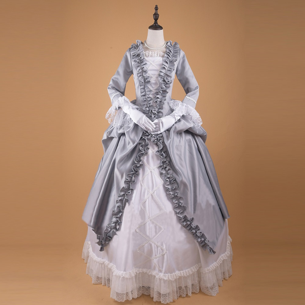 Nouveau victorien gothique géorgien femmes Vintage dentelle gris blanc robe Halloween mascarade robe de bal robe de soirée sur mesure