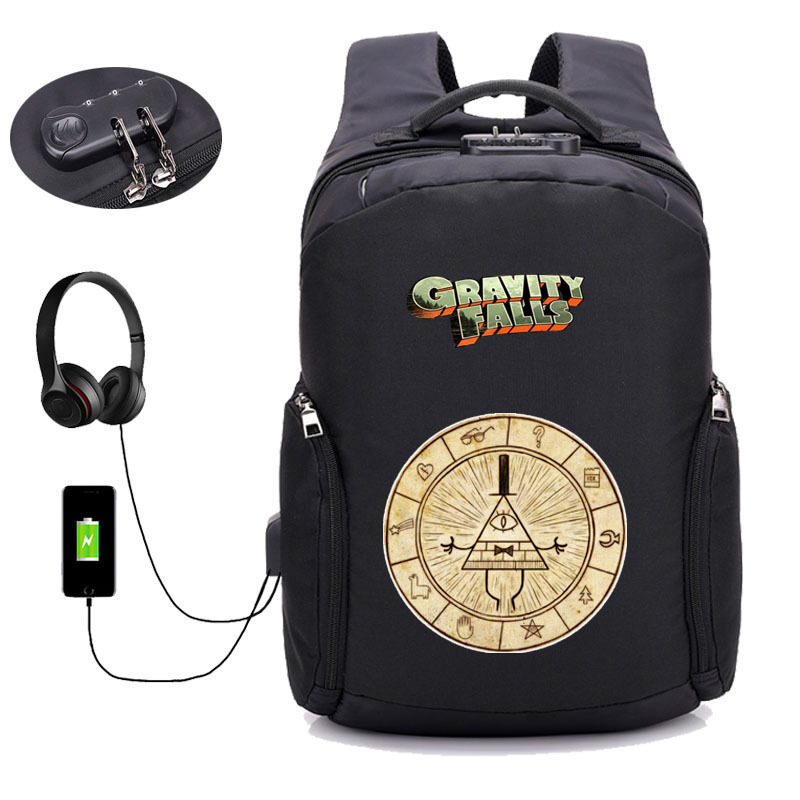 USB Charging Anti Theft Backpacks anime Gravity Falls backpack teenagers Travel Bags student book bag Men women Laptop BackpackUSB Charging Anti Theft Backpacks anime Gravity Falls backpack teenagers Travel Bags student book bag Men women Laptop Backpack