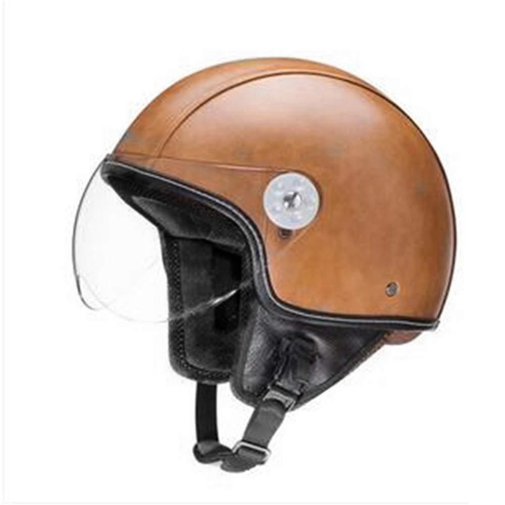 leather PU harley casco moto vintage motorcycle helmet capacetes de motociclista punk cafe racer open face
