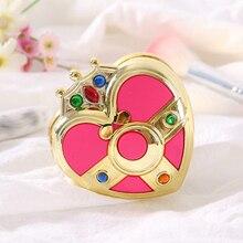 Boîte à miroir de maquillage de dessin animé Moon, cœur rose, boîte à miroir compacte, Chibi Moon, accessoire en plastique, pour femmes, cadeau cosmétique