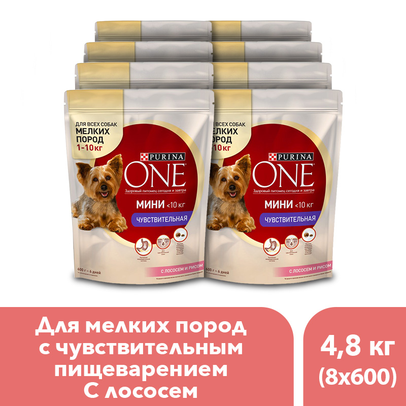Dry dog food of small breeds Purina One Mini Sensitive, with salmon and rice, 4.8 kg.