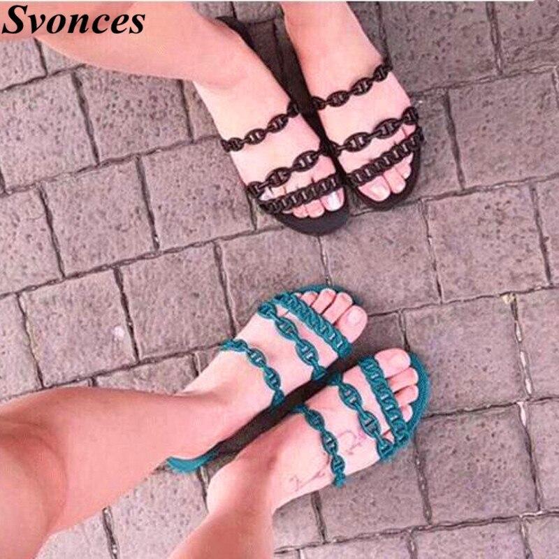شيك النساء الأحذية سلسلة مصمم النعال الصنادل الشارع نمط شقة هلام الشرائح الصيف أحذية امرأة الشرائح صنادل شاطئ الأخضر-في صنادل للسيدات من أحذية على  مجموعة 1