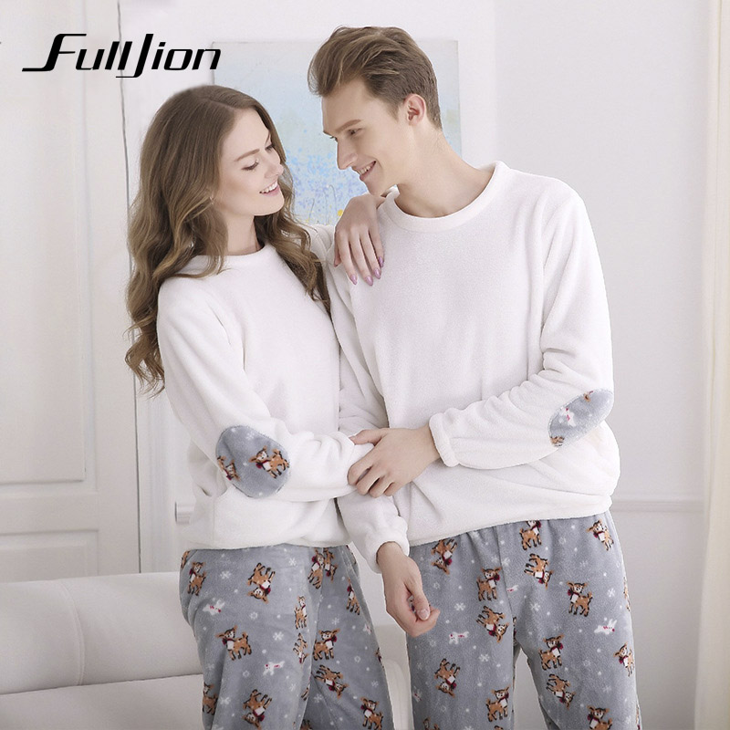 Fulljion Autumn Winter Flannel Couple   Pajamas     set   Round Collar Thicken Lover   Pajamas   Casual Sleepwear For Lovers Couple Pyjamas