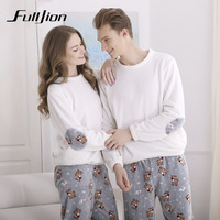 Fulljion Autumn Winter Flannel Couple Pajamas set Round Collar Thicken Lover Pajamas Casual Sleepwear For Lovers Couple Pyjamas