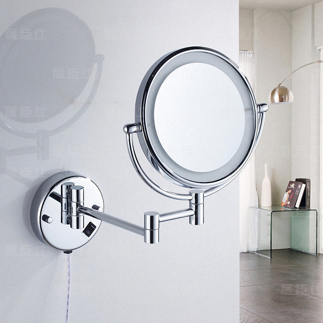 700brass Extendable Lighted Makeup Mirror Bathroom Magnified Mirror