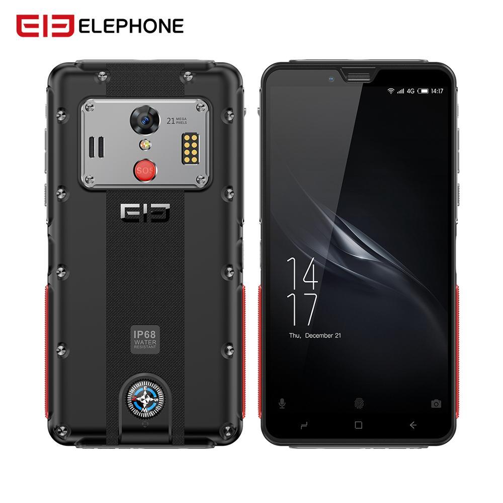 Elephone soldat 4GB 128GB Smartphone 5.5 ''2 K écran IP68 téléphone étanche Android 8.0 Helio X25 Deca Core 5000mAh téléphone robuste
