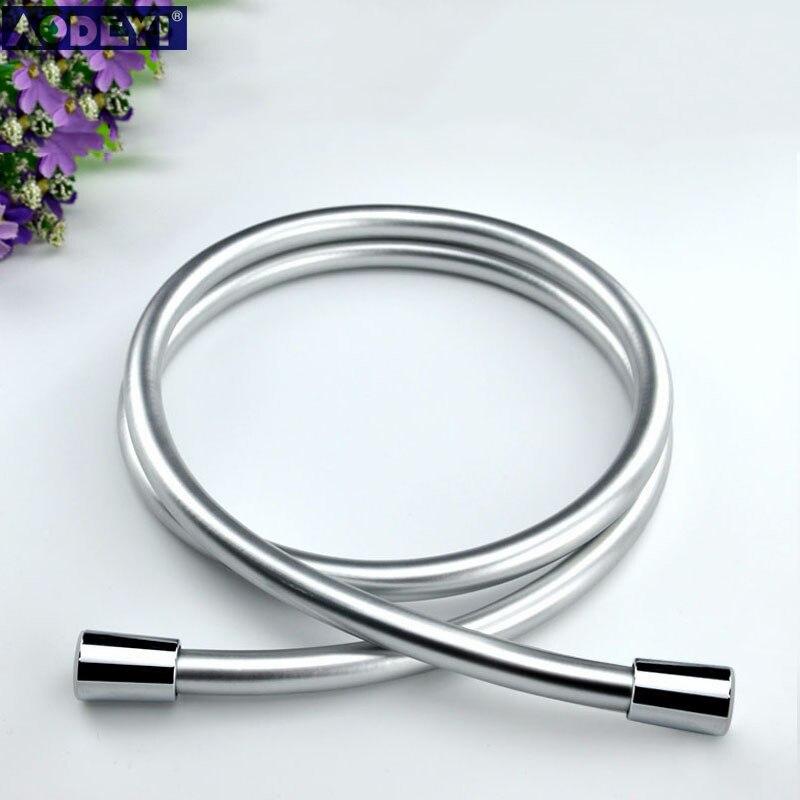 Manguera de ducha suave de PVC plateado y negro de alta presión para ducha de mano, manguera Flexible para ducha, envío gratis 11-088