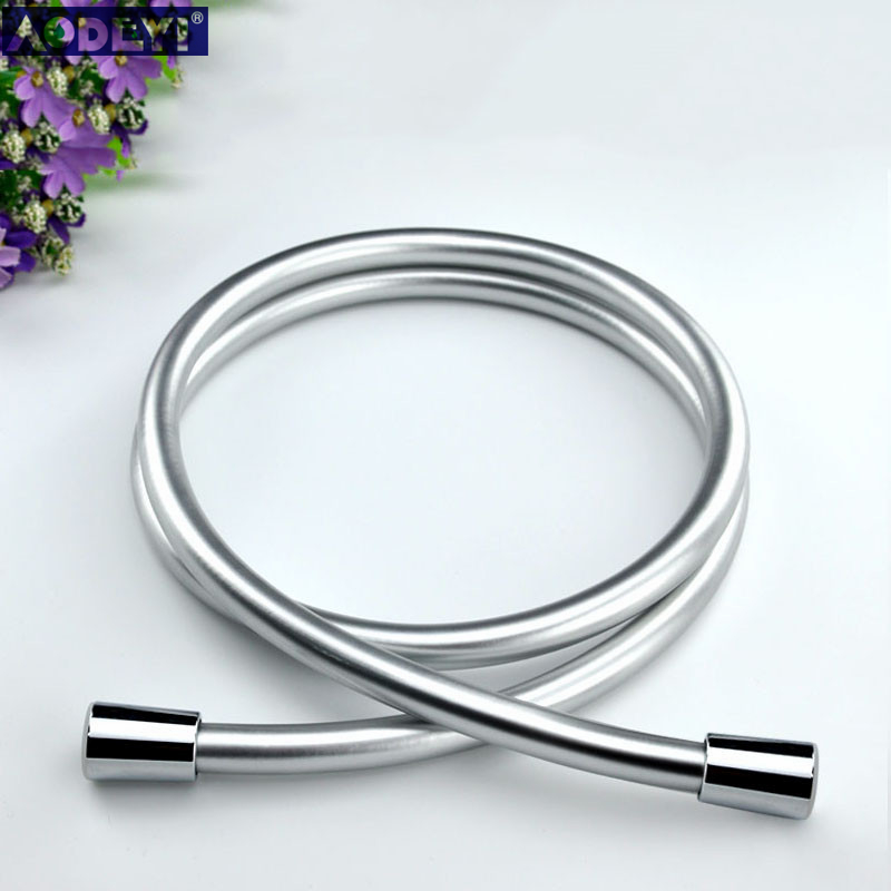 PVC High Pressure Silver & Black PVC Smooth Shower Hose For Bath Handheld Shower Head Flexible Shower Hose Free Shipping 11-088
