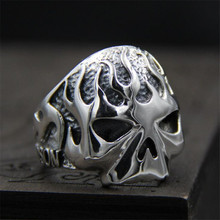 Classic Skull For Man 925 Sterling Silver Mens Flame Fire Punk Ring Unique Personality Biker Jewelry  PBG058