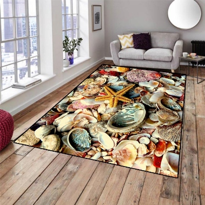 Else Tropical Yellow Green Sea Shells Starfish 3d Print Non Slip Microfiber Living Room Decorative Modern Washable Area Rug Mat