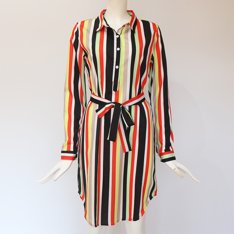 Long Sleeve Shirt Dress 2019 Summer Boho Beach Dresses Women Casual Striped Print A line Mini