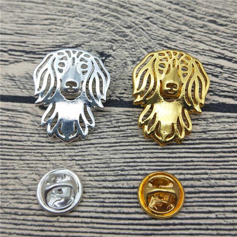 Nieuwe Langharige Teckel Broches en Pinnen Trendy Dier Metalen Pak Broches Mannen Mode Huisdier Sieraden