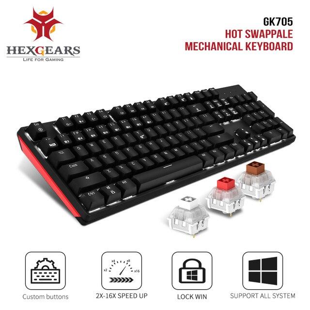 HEXGEARS GK705 Kailh ボックススイッチ 104 キーゲーミングメカニカルキーボードホットスワップスイッチ抗ゴースト笑キーボード