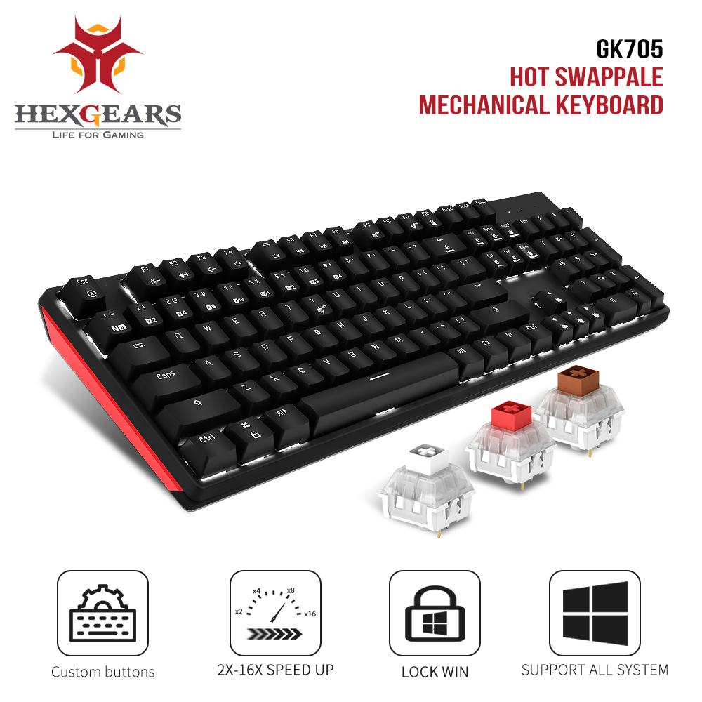 HEXGEARS GK705 Kailh BOX Switch 104 Keys Gaming Mechanical Keyboard Hot Swap Switch Anti-Ghosting LOL Keyboard