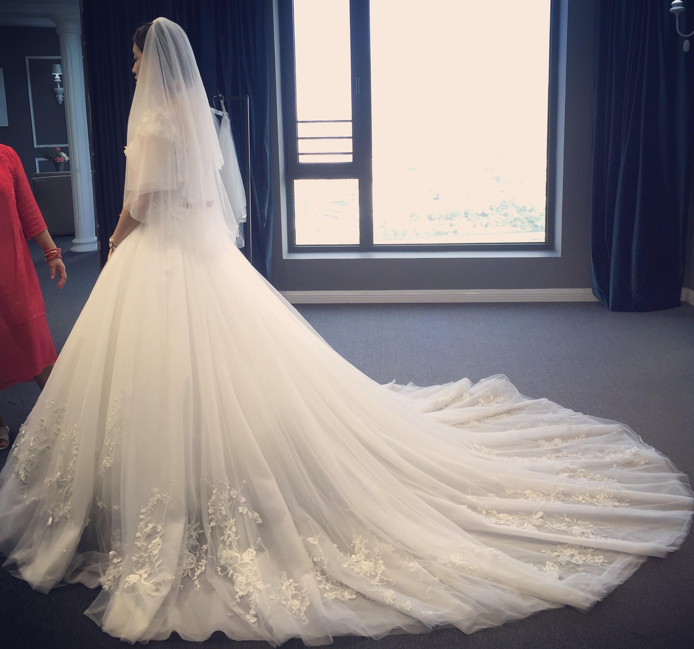 Tailles personnalisées Train blanc robe pour femmes Split 3D dentelle Slash cou mariage grande taille plage Vestido 2019 femmes vêtements OWD193016 - 2