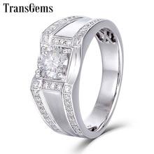 Transgems 585 14K White Gold Mens Wedding Band Center 0.5ct 5mm F Color Moissanite Engagement Ring for Men