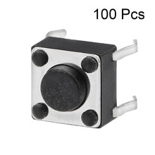 UXCELL 100PCS 6x6x4.5mm Switches Supplies Panel Mini PCB Momentary Tactile Tact Push Button Switch DIP Accessories Black Gray 100pcs lm723cn lm723 dip 14