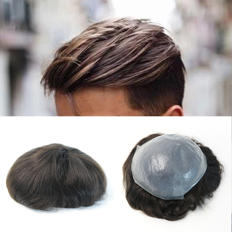 Durable Thin Skin Men Toupee Natural European Remy Full PU Hair Replacement Systems Pure Handmade Toupee Ever Beauty