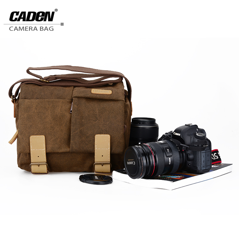 CADeN Waterproof Canvas Camera Bag Vintage Messenger Sling Shoulder Bag Slr Gadget Bag with Shockproof Insert for Nikon Canon muchuan 16928 canvas vintage slr camera bag shoulder strap case casual shoulder messenger pack for canon for sony waterproof bag