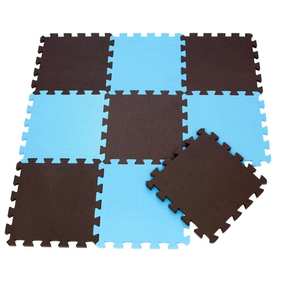 9pcsbag Soft Eva Foam Baby Play Mat Brown Color Series Puzzles Mat