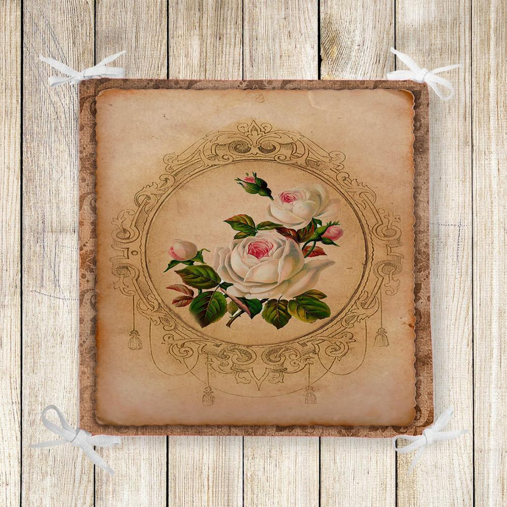 Else Brown Vintage White Roses Flower 3d Print Chair Pad Seat Cushion Soft Memory Foam Full Lenght Ties Non Slip Washable Zipper