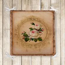 Else Brown Vintage rosas blancas flor 3d impresión silla cojín asiento espuma con memoria blanda Full Lenght Ties antideslizante lavable cremallera