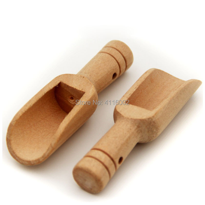 300pcs Mini Wood Scoops Wooden Tea Shovel Bath Salt Spoon Milk Powder Spoons