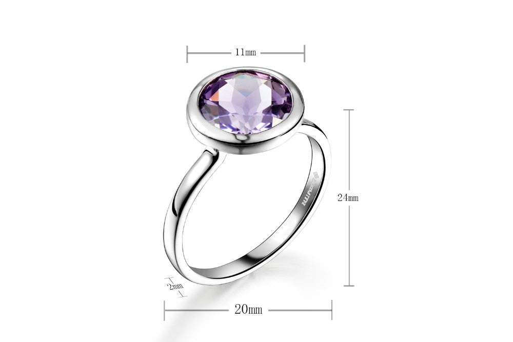 DORMITH real 925 sterling silver ring 3 1 carats 9mmx9mm natural Amethyst gemstone rings for women jewelry size7 8 available in Rings from Jewelry Accessories