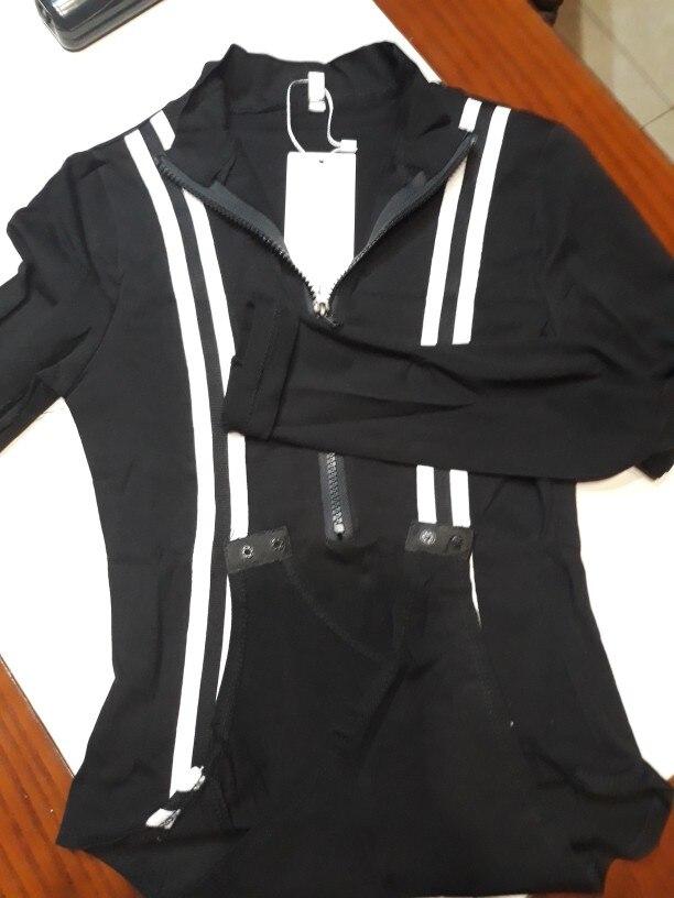 Zipper Long Sleeve Bodysuit Jumpsuit Women Rompers Bodycon Black Elegant Patchwork Striped Turtleneck Skinny Bodysuit photo review