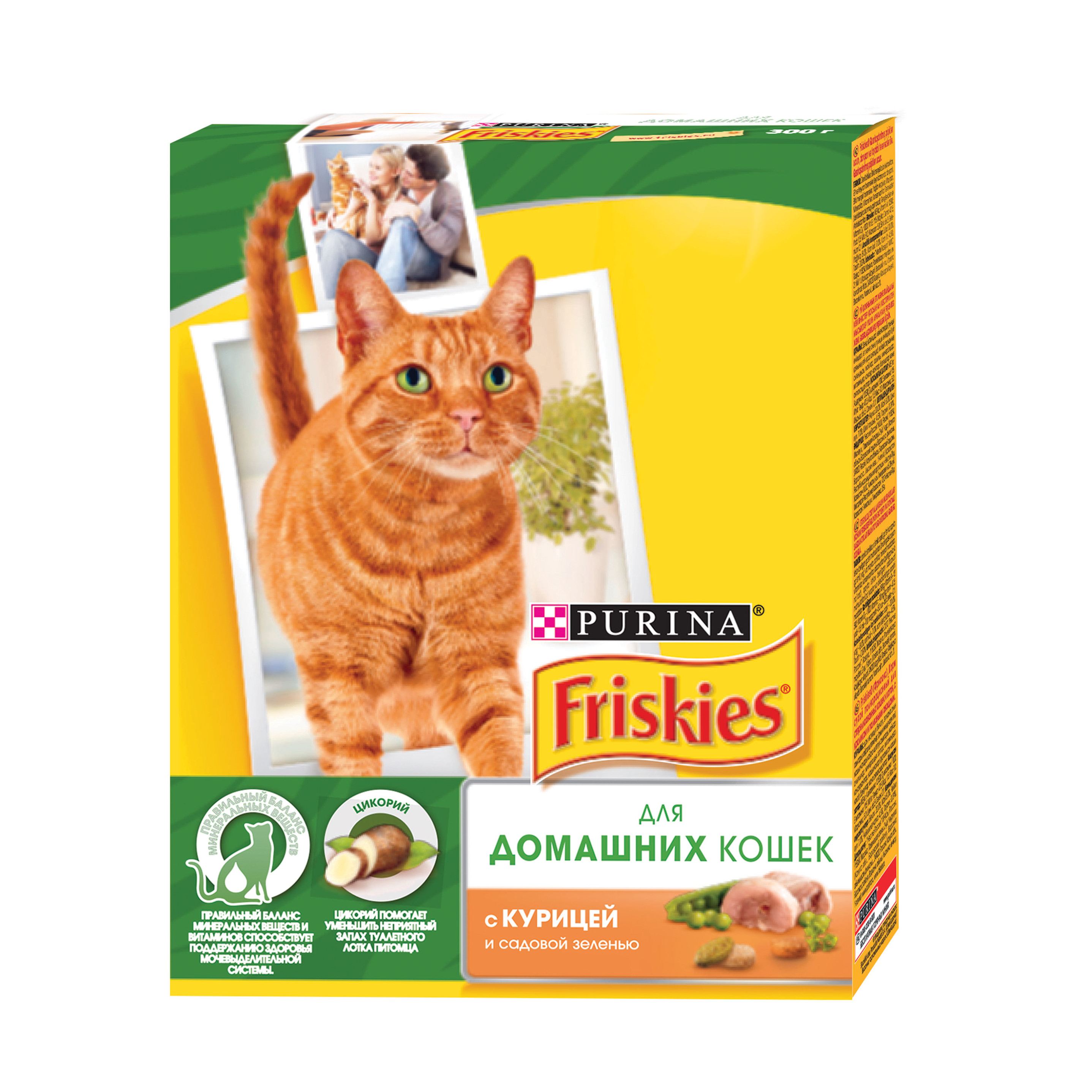 A set of dry food Friskies for domestic cats with chicken and garden greens, Cardboard box, 300 gx 10 pcs.