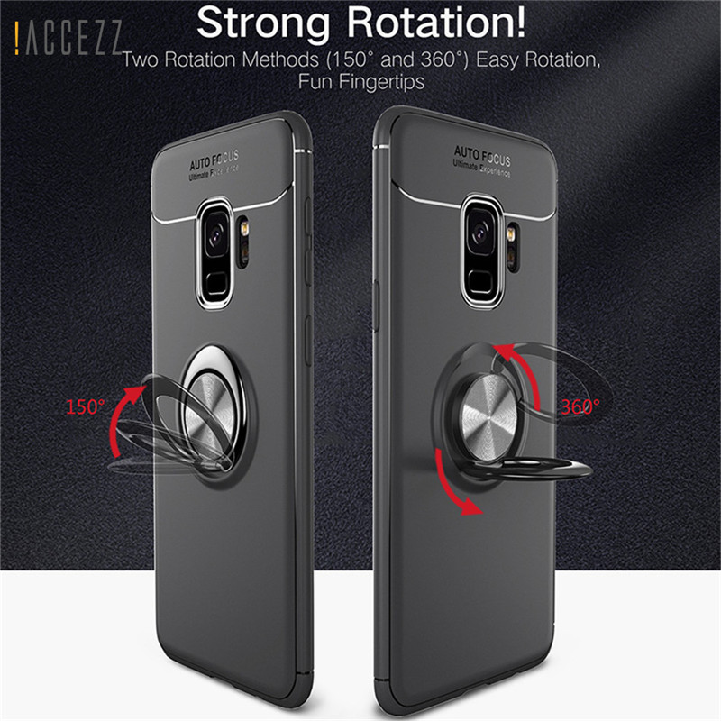 Luxury 360 Finger Ring Stand Holder Case For Samsung Galaxy S8 S9 Plus Note8 Magnetic Car Kickstand Soft TPU Matte Cover Shell
