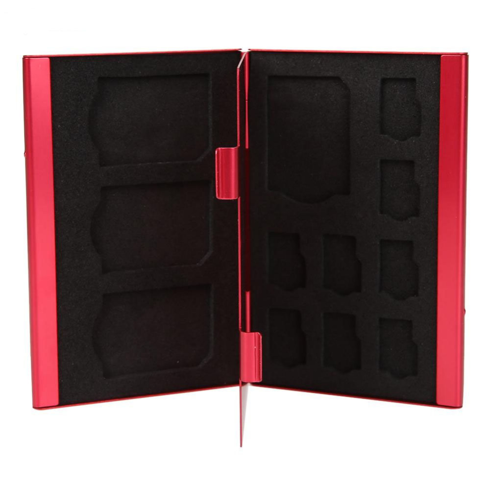 Portable Deck Aluminium Alloy 8Pcs  8pcs TF Card(Micro SD Card) + 4PCS SD Memory Cards Storage Box Holder