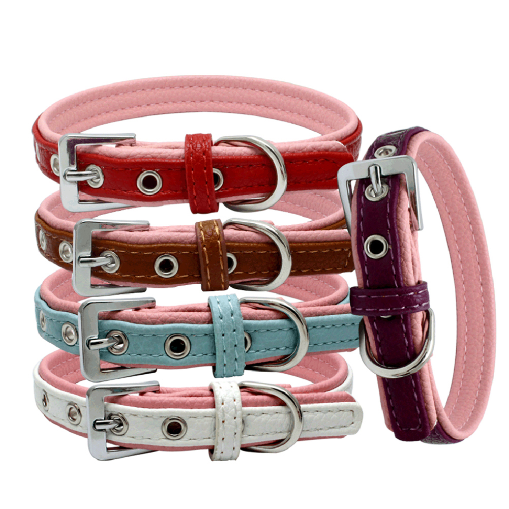 Double Layers Faux Leather Pink-bottomed Dog Puppy Pet Collar Buckle Neck Strap