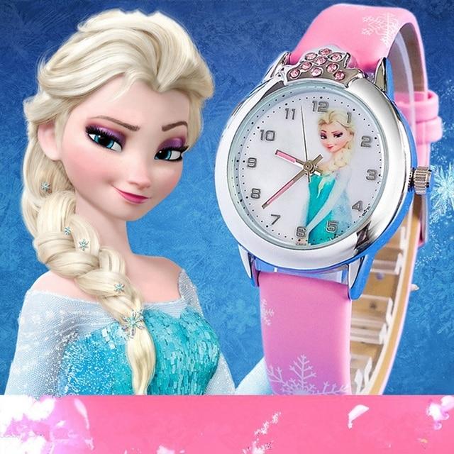 Hot Princess Elsa Pattern Children Watch Fashion Crystal Cartoon Leather Strap Q