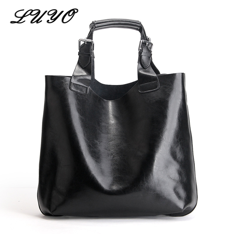 LUYO Brand Genuine Leather Candy Color Large Shopping Bag Ladies HandBags Top-handle Bags Female Women Tote Bolsas Feminina Sac