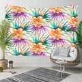 Başka bir Tropikal portakal çiçeği Yeşil Mor Yaprak Çiçek 3D Baskı Dekoratif Hippi Bohemian Duvar Asılı Peyzaj Goblen Duvar Sanatı
