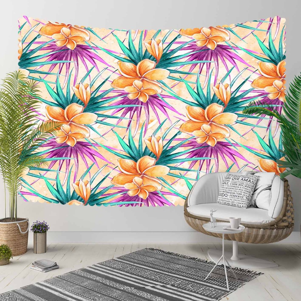 Else Tropical Orange FLower Green Purple Leaf Floral 3D Print Decorative Hippi Bohemian Wall Hanging Landscape Tapestry Wall Art