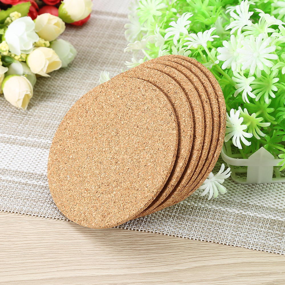 6pcs/lot Natural Cork Coaster Heat Resistant Cup Mug Mat Coffee Tea Hot Drink Placemat for Dining Table Kitchen Accessories