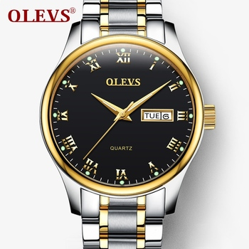 OLEVS Men's Water Resistant Stainless Steel Date Clock Quartz Watches 1