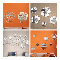 Flower Crystal Acrylic Mirror Decorative Sticker 3D DIY Wall Sticker Wall Decal Home Decol Home Decoration Bathroom Shower Room