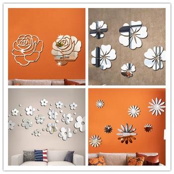 Flower Crystal Acrylic Mirror Decorative Sticker 3D DIY Wall Sticker Wall Decal Home Decol Home Decoration Bathroom Shower Room 1