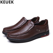 NEW 2017 Men Casual leather shoes Slip-On Genuine leather Dress shoes Autumn Male Flats Moccasins 002
