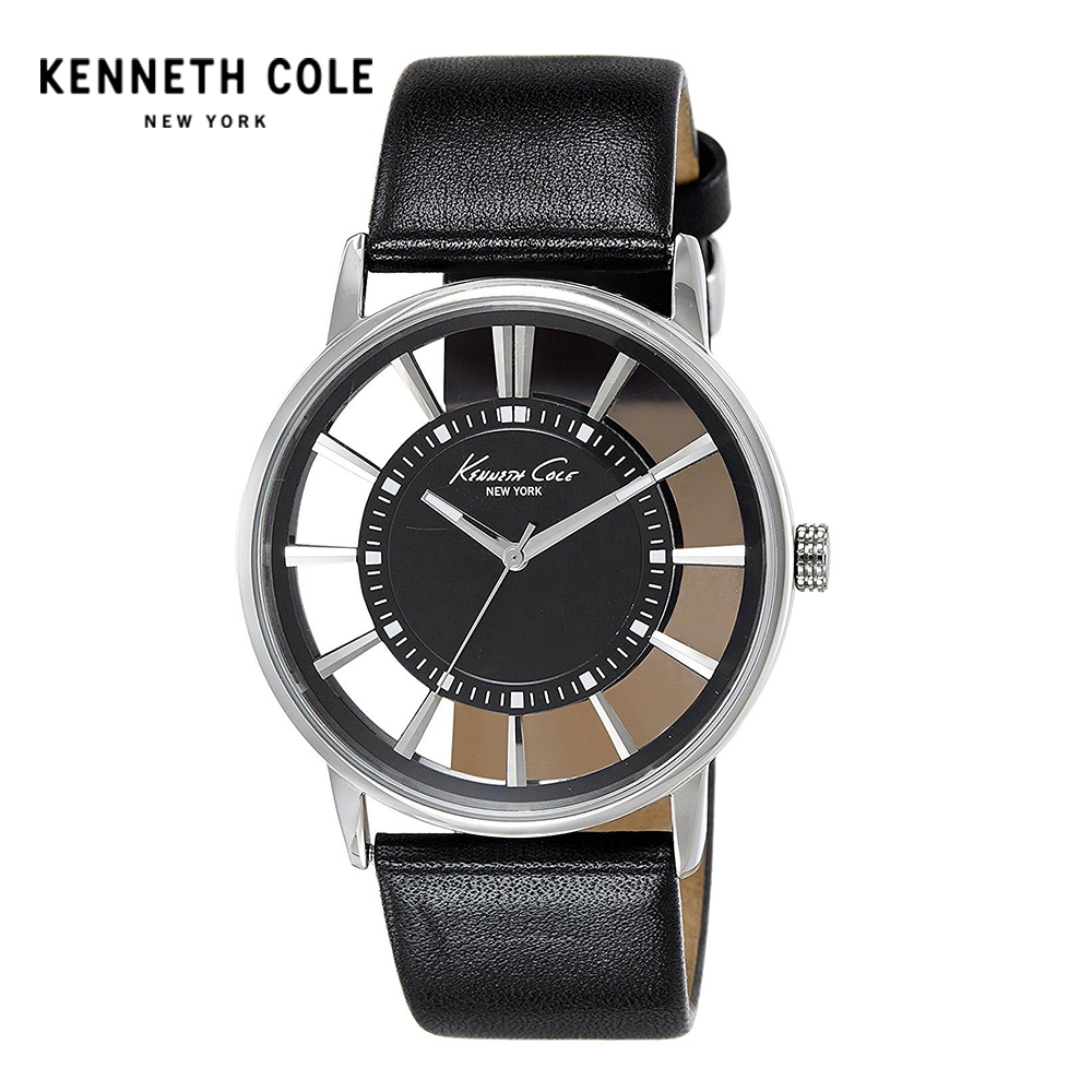 Kenneth Cole Men Watch Quartz Leather Band Water Resistant Watches See-through Men's Watches KC1793