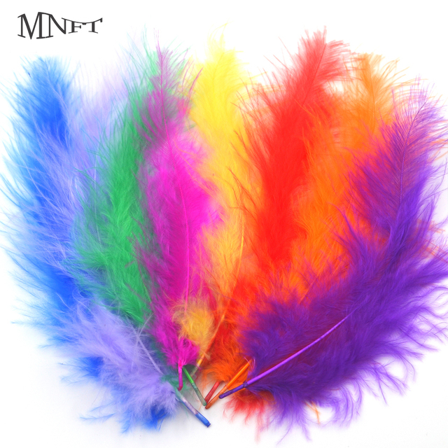 MNFT 100PCS Fluffy Marabou Feathers Assorted Bright Colored Turkey ...